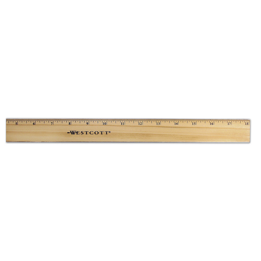 Metal Edge School Ruler - Single Scale - 18 in.