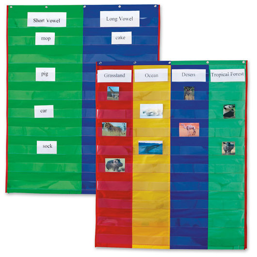 Red Classroom Pocket Chart by Happy Teacher 8 Pockets Teaching School Supplies