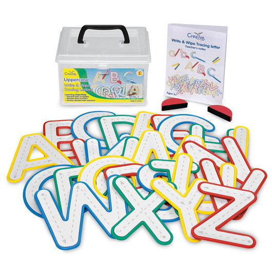 Write and Wipe Uppercase Letters with Clear Removable Pouch