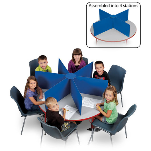 Pacon® Round Table Privacy Boards 48 in. Dia. x 14 in. H - Blue