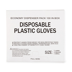 Latex Free Poly PPE Gloves - Medium Size - Box of 100