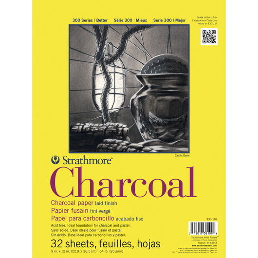 Strathmore® 300 Series Charcoal Tape-bound Pad - 9 in. x 12 in. - 64 lb.