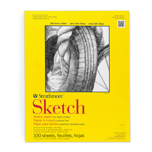 Strathmore® 300 Series Tape-Bound Sketch Pad - 11 in. x 14 in. - 50 lb. - 100 Sheets