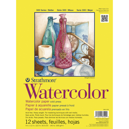 Strathmore® 300 Series Watercolor Pad - 9 in. x 12 in. - 12 Sheets - 140 lb.