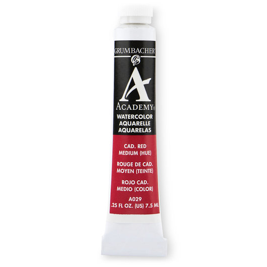 Grumbacher® Academy® Watercolor - 0.25 oz. (7.5 ml) - Cadmium Red Medium Hue