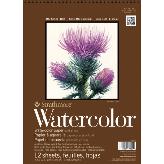 Strathmore® 400 Series Watercolor Pad - 9 in. x 12 in. - 12 Sheets - 140 lb.