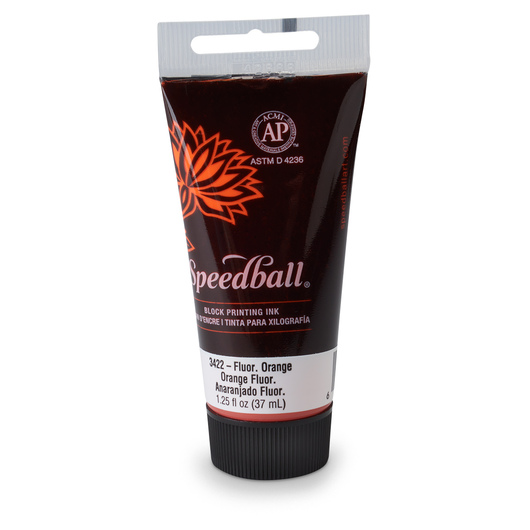 Speedball® Water-Soluble Block Printing Ink - 1.25-oz. (37 cc) Tube - Fluorescent Orange