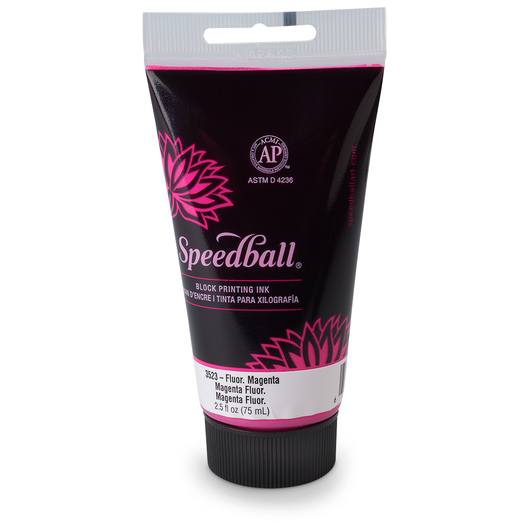Speedball® Water-Soluble Block Printing Ink - 2.50-oz. (75 cc) Tube - Fluorescent Magenta