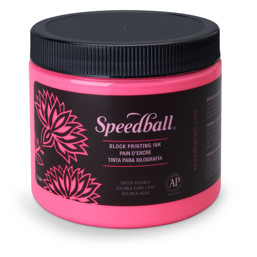 Speedball® Water-Soluble Block Printing Ink - 1-lb. Jar - Fluorescent Hot Pink