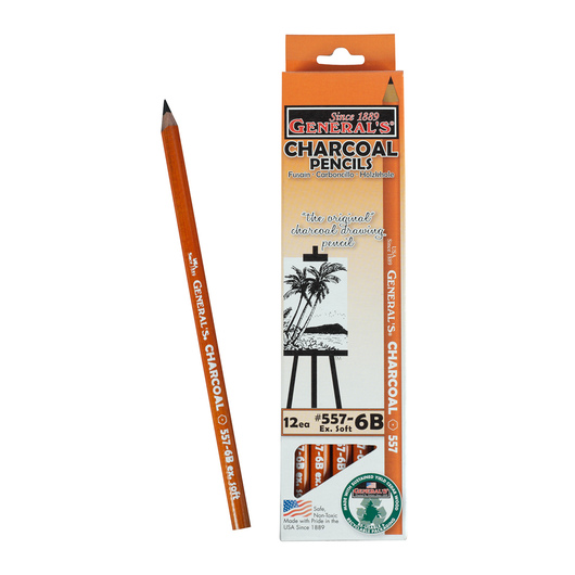 General's® Charcoal Pencils - 6B Extra Soft - Pkg. of 12