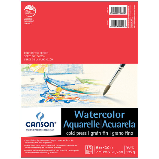 Canson® Student Lightweight Watercolor Pad - 9 in. x 12 in. - 15 Sheets - 90 lb.