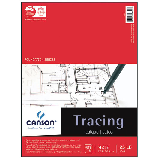 Canson® Tracing Paper Pad - 50 Sheets - 9 in. x 12 in. - 25 lb.
