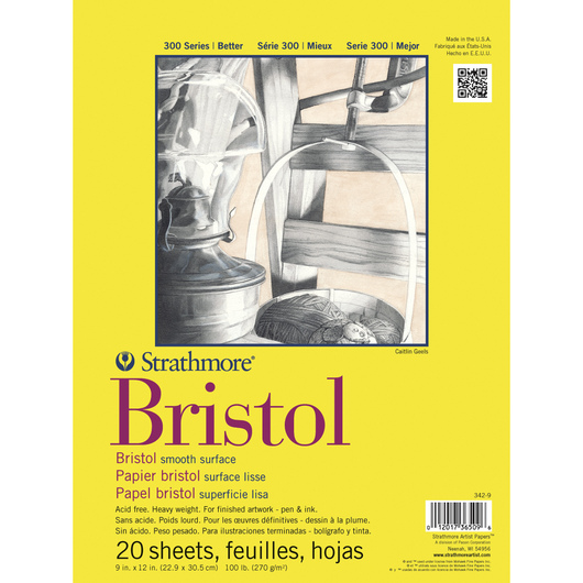 Strathmore® 300 Bristol Board Pads - 20 Sheets - 100 lb. - 9 in. x 12 in. - Smooth