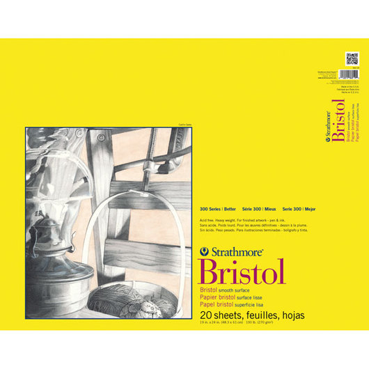 Strathmore® 300 Bristol Board Pads - 20 Sheets - 100 lb. - 19 in. x 24 in. - Smooth
