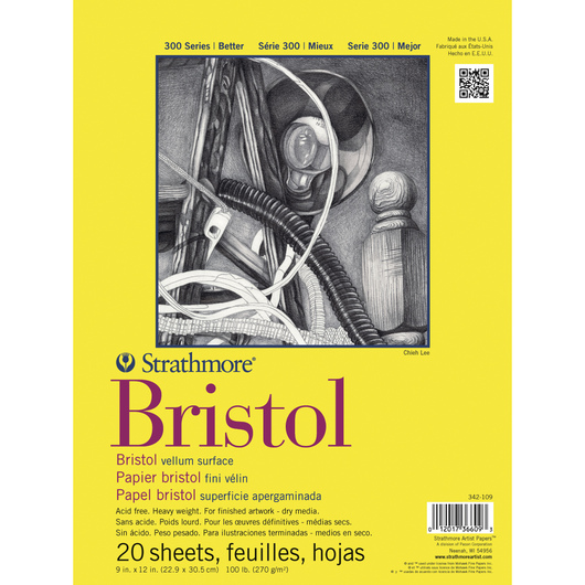Strathmore® 300 Bristol Board Pads - 20 Sheets - 100 lb. - 11 in. x 14 in. - Vellum