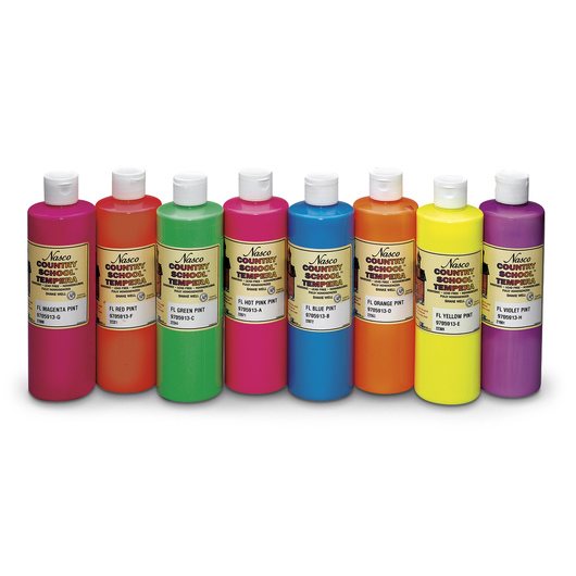 Nasco Country School™ Fluorescent Tempera Paint - Set of 8 Pints
