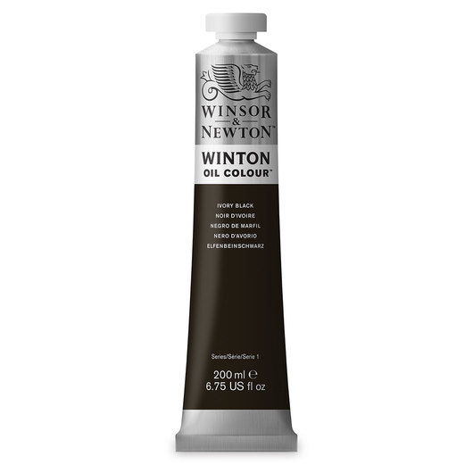Winsor & Newton™ Winton Oil Color 6.75 oz. (200 ml) Tube - Ivory Black