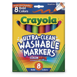Crayola® Ultra-Clean Washable® Bold Color Markers - Set of 8 - Conical-Tip Set #7832