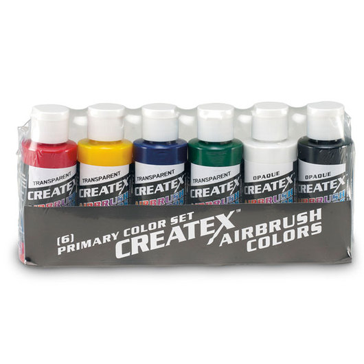 Createx™ Airbrush Colors - Primary Set of 6 - 2-oz. Bottles