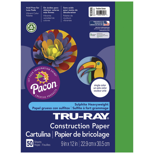 Pacon® Tru-Ray® Fade-Resistant Construction Paper - 9 in. x 12 in. - Festive Green