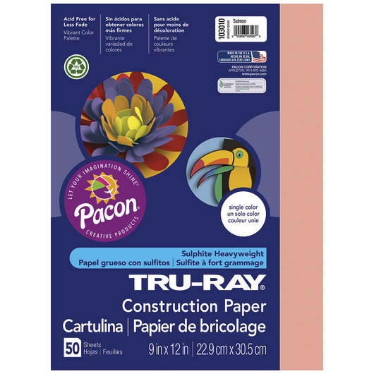 Pacon® Tru-Ray® Fade-Resistant Construction Paper - 9 in. x 12 in. - Salmon