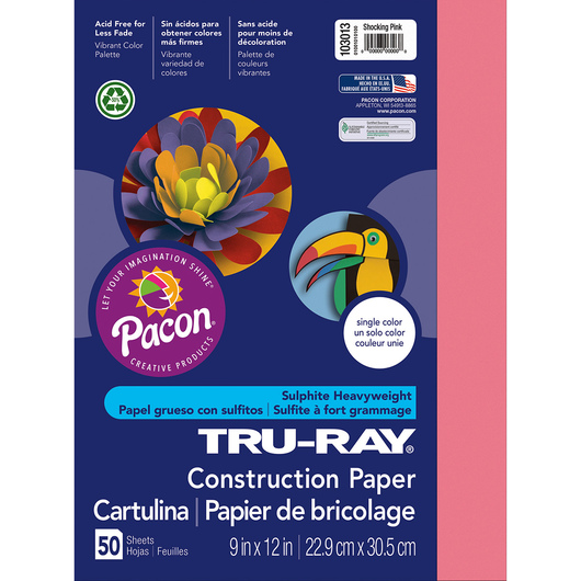 Pacon® Tru-Ray® Fade-Resistant Construction Paper - 9 in. x 12 in. - Shocking Pink