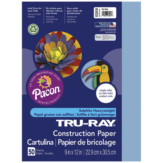 Pacon® Tru-Ray® Fade-Resistant Construction Paper - 9 in. x 12 in. - Sky Blue
