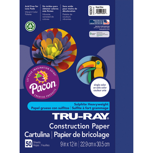 Pacon® Tru-Ray® Fade-Resistant Construction Paper - 9 in. x 12 in. - Royal Blue