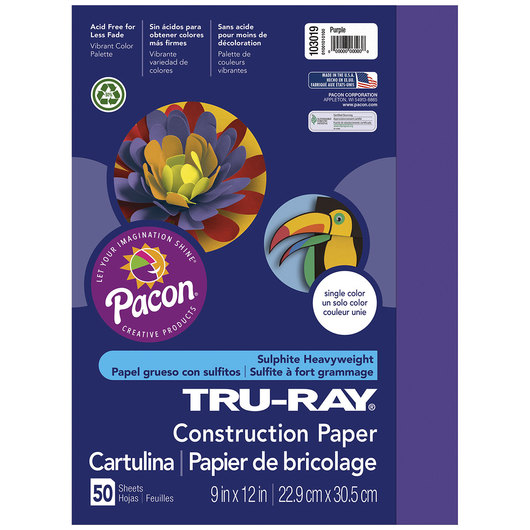 Pacon® Tru-Ray® Fade-Resistant Construction Paper - 9 in. x 12 in. - Purple