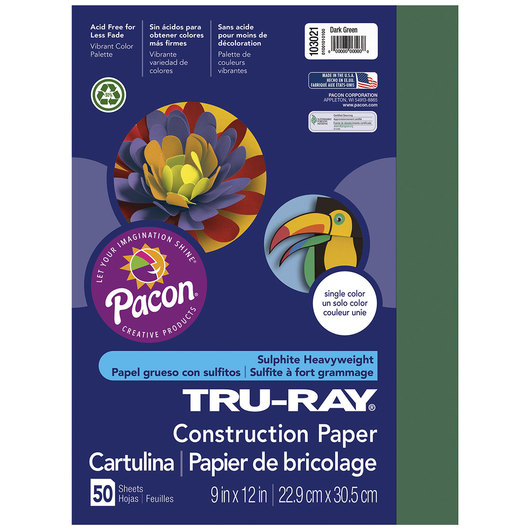Pacon® Tru-Ray® Fade-Resistant Construction Paper - 9 in. x 12 in. - Dark Green