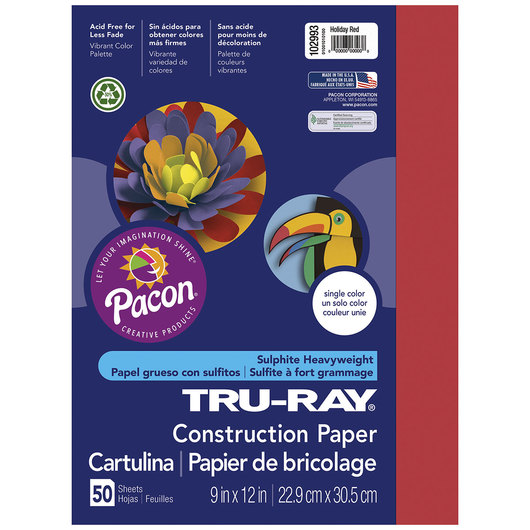 Pacon® Tru-Ray® Fade-Resistant Construction Paper - 9 in. x 12 in. - Holiday Red
