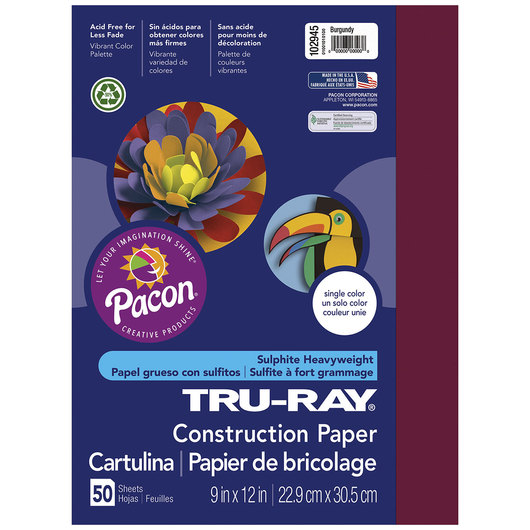 Pacon® Tru-Ray® Fade-Resistant Construction Paper - 9 in. x 12 in. - Burgundy