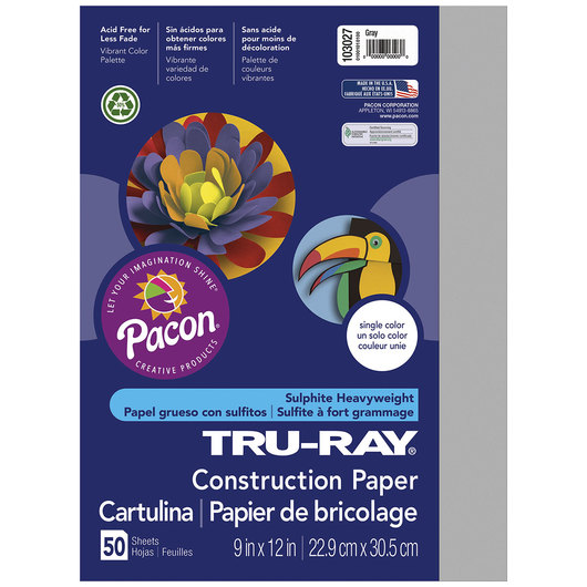 Pacon® Tru-Ray® Fade-Resistant Construction Paper - 9 in. x 12 in. - Gray