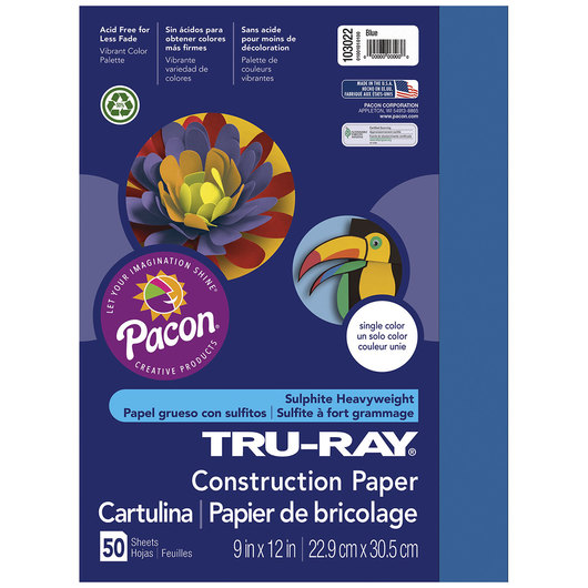 Pacon® Tru-Ray® Fade-Resistant Construction Paper - 9 in. x 12 in. - Blue