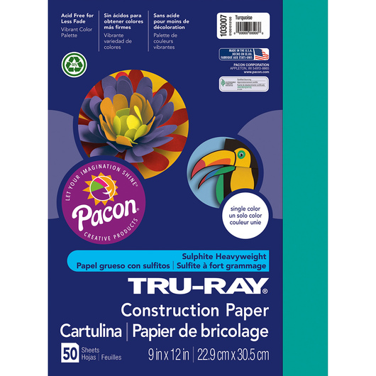 Pacon® Tru-Ray® Fade-Resistant Construction Paper - 9 in. x 12 in. - Turquoise