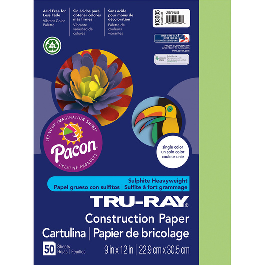Pacon® Tru-Ray® Fade-Resistant Construction Paper - 9 in. x 12 in. - Chartreuse