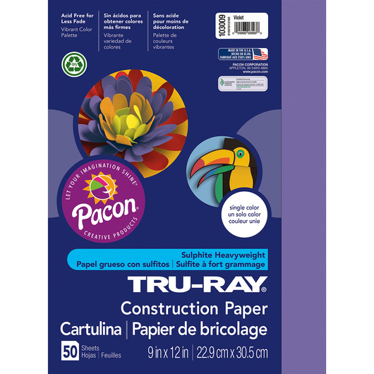 Pacon® Tru-Ray® Fade-Resistant Construction Paper - 9 in. x 12 in. - Violet