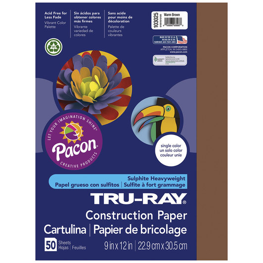 Pacon® Tru-Ray® Fade-Resistant Construction Paper - 9 in. x 12 in. - Warm Brown