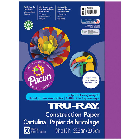 Pacon® Tru-Ray® Fade-Resistant Construction Paper - 9 in. x 12 in. - Magenta