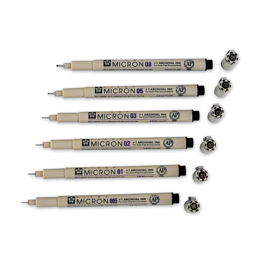 Sakura® Pigma® Micron® Permanent Pens - Black - Set of 6