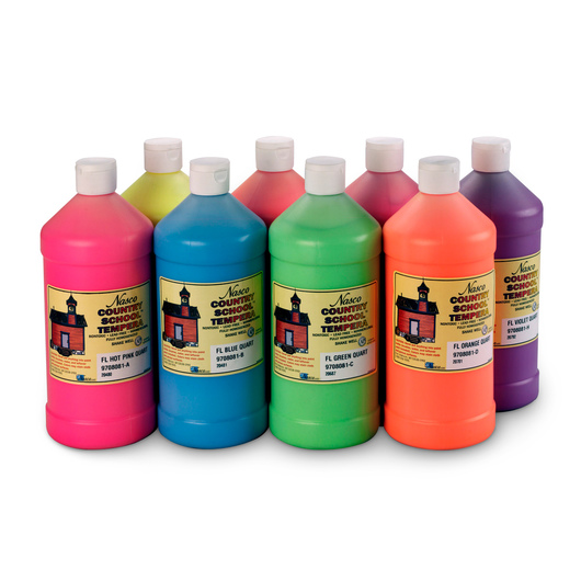Nasco Country School™ Fluorescent Tempera Paint - Set of 8 Quarts