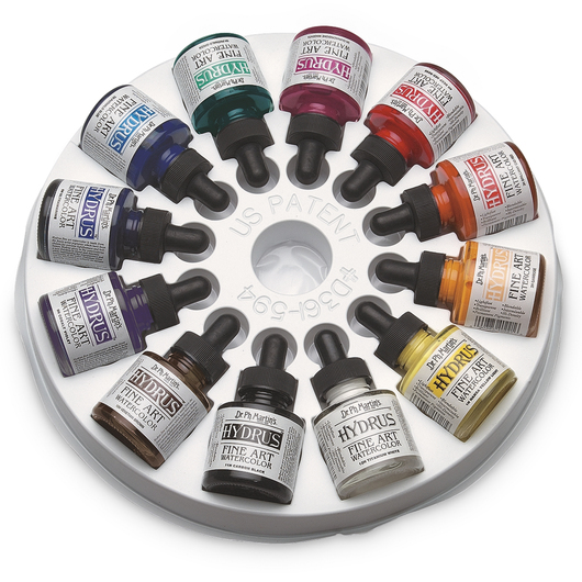 Dr. Ph. Martin's® Hydrus® Fine Art Watercolors - Set #1 - 12, 1-oz. Bottles