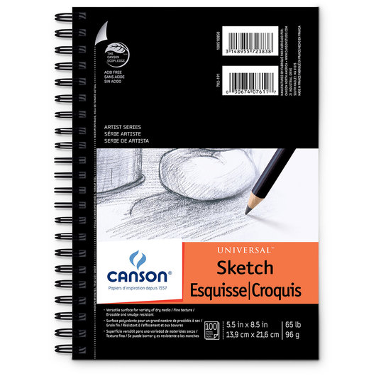 Canson® Universal™ Sketch Pad - 5-1/2 in. x 8-1/2 in., 100 Sheets, 65 lb.
