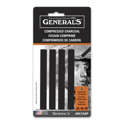General's® Compressed Square Charcoal Sticks - Black - Pkg. of 4