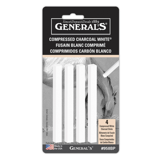 General'S® Compressed Charcoal Sticks - White - Pkg. of 4