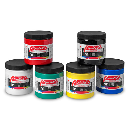 Speedball® Water-Soluble Fabric Screen Printing Inks - Set of 6 - 8-oz. Jars