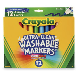 Crayola® Ultra-Clean Washable® Color Markers - Classic Colors - Conical-Tip Set #7812 - Set of 12