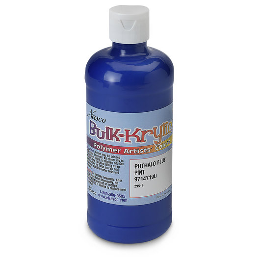 Nasco Bulk-Krylic® Acrylic Paint - Phthalo Blue - Pint Squeeze Bottle