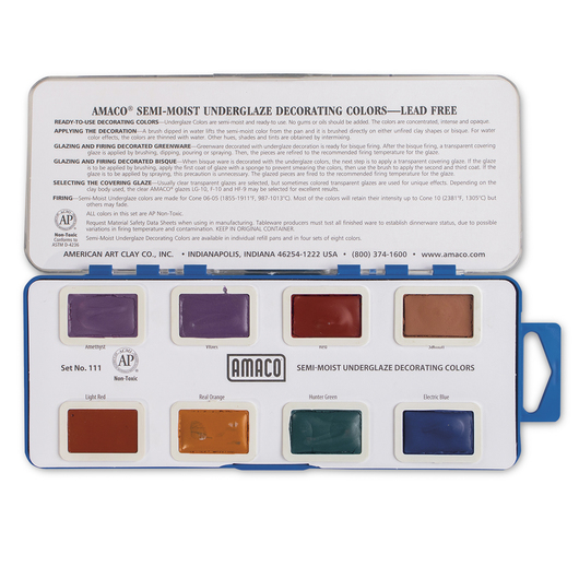 AMACO® Lead-Free Semi-Moist Underglaze Set No. 111 - 8 Colors