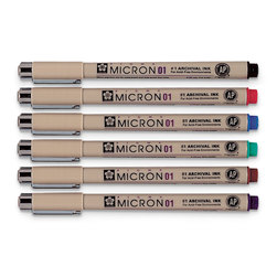 Sakura® Pigma® Micron® Permanent Pens - Set of 6 Colors - 0.25 mm (01)